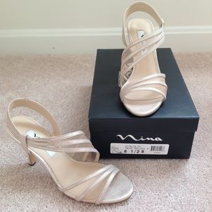 Ladies NINA dress sandals.  Taupe.  Like new!
